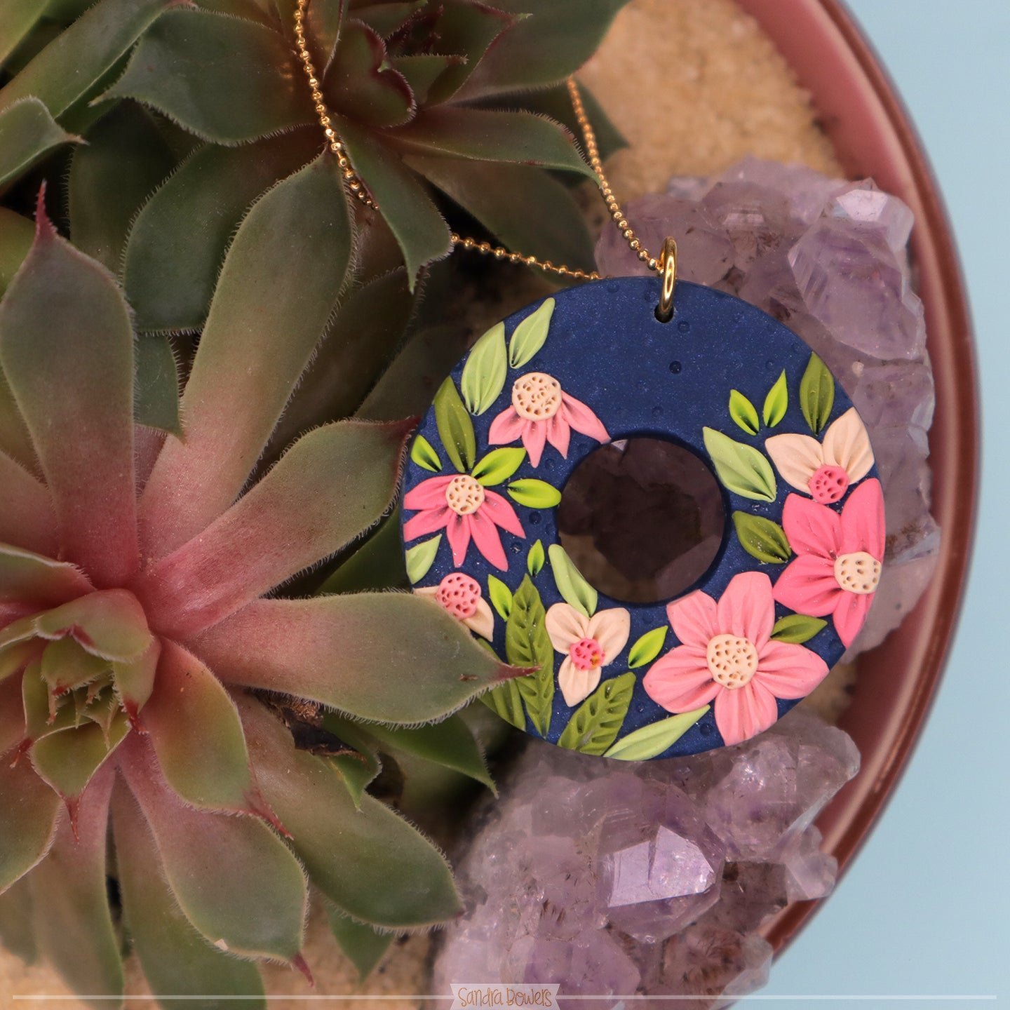 Statement jewellery floral polymer clay necklace