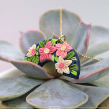Load image into Gallery viewer, rainbow polymer clay florals necklace