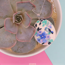 Load image into Gallery viewer, Oval Hydrangea and Bird Pendant
