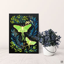 "Load image into Gallery viewer, ""Luna Moths"" Gouache Painting"