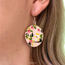 Load image into Gallery viewer, Parakeet-polymer-clay-earrings_wear