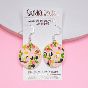 Parakeet Oval Earrings