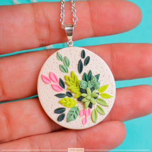 Succulent_Polymer_clay_handmade_pendant