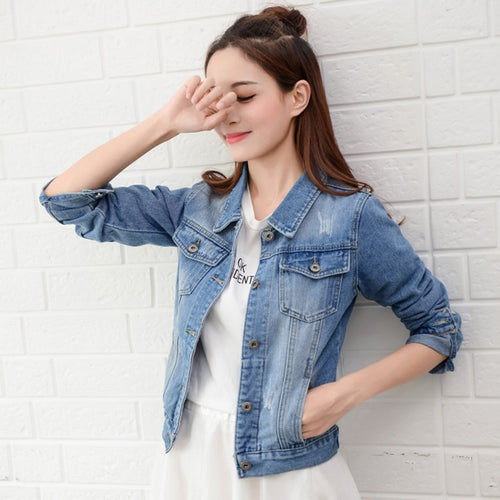 Light Blue Bomber Short Denim Jacket Casual Ripped