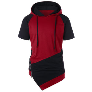 Short Sleeve Drawstring Color Blocking Hoodie