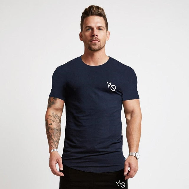 Sport O-Neck Gym Training Men T-Shirt Cotton Elastic Tight