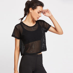 Summer Women's Black Mesh T-Shirt