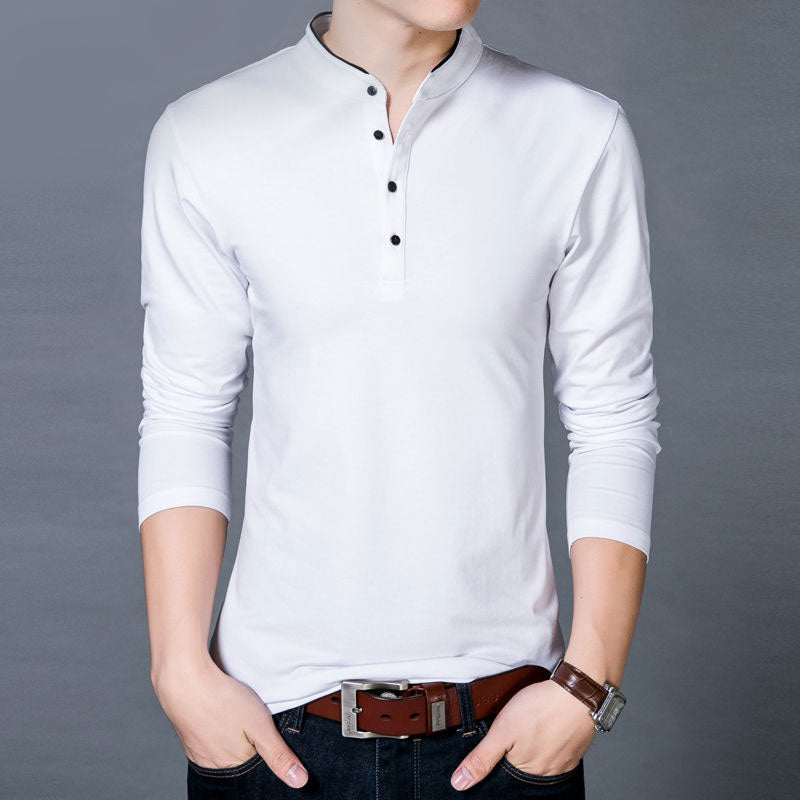 Long Sleeve Men T-Shirt With Cotton Mandarin Collar