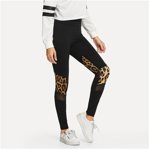 Fitness Mesh Leopard Print Leggings