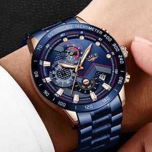 LIGE Men Stainless Steel Blue Waterproof Quartz Watch