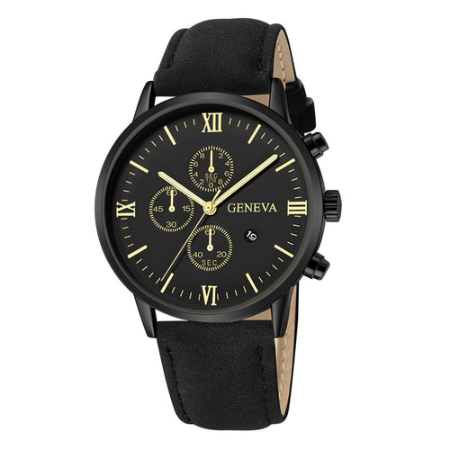 Fashion Leather Analog Quartz Sport Men Watch