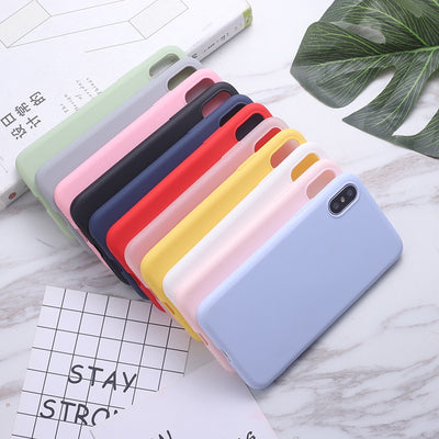 ERILLES Silikon-Vollfarbtasche für iPhone 11 7 6 6S 8 Plus Soft Cover Candy Phone Cases für iPhone XS 11 Pro MAX XR X XS XS Max