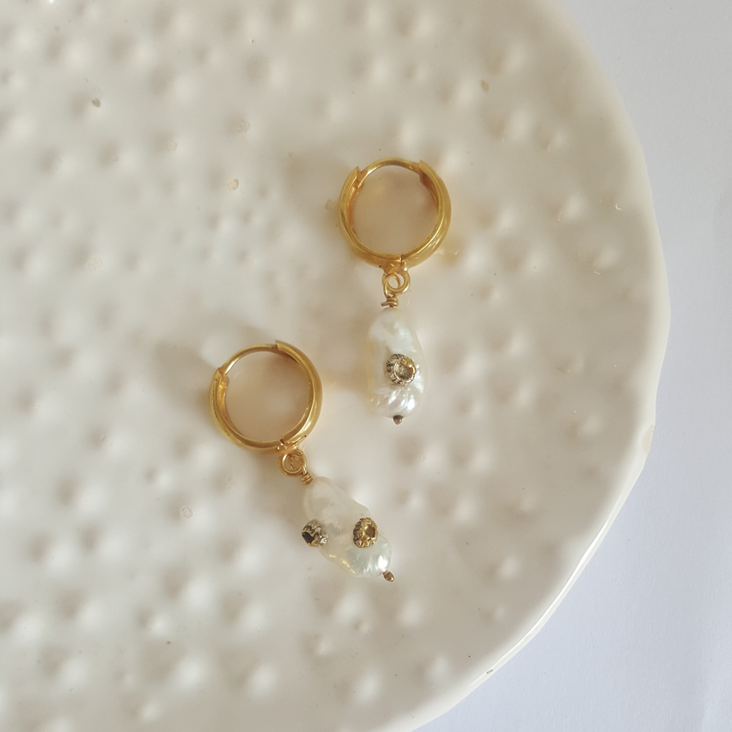 Barnacle encrusted Pearl Hoops