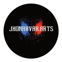 jhonarvar.arts in white letters with red and blue splatter in background