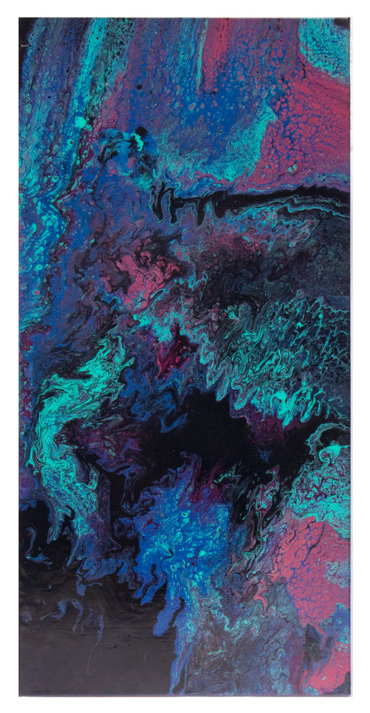 A 2 piece Acrylic abstract pour painting consisting of purple, blue, black, turquoise and magenta.