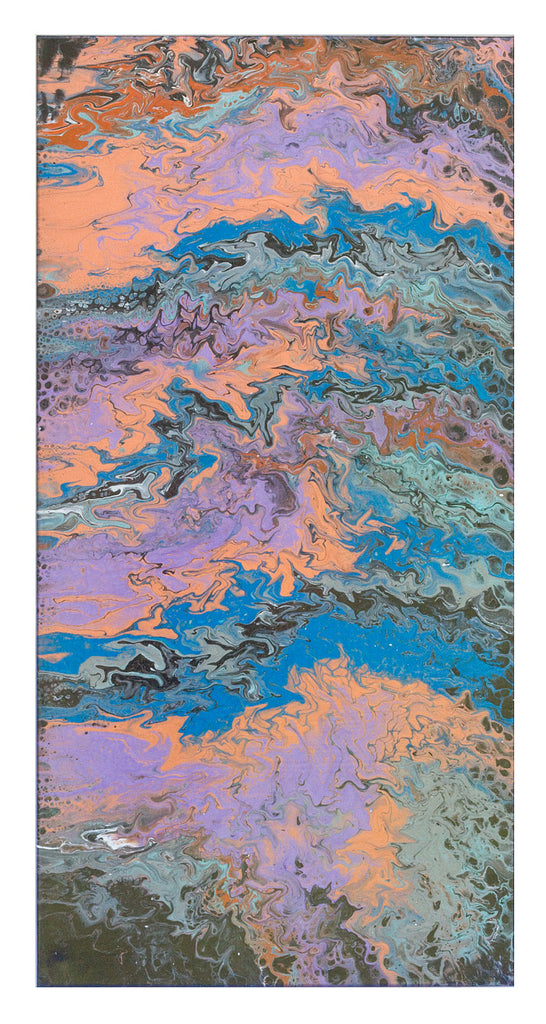 2 piece Acrylic abstract pour painting consisting of blue, copper, turquoise and purple.