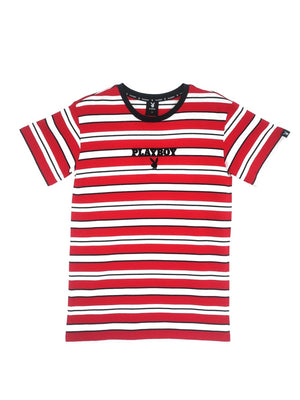 PLAYBOY STRIPES WITH EMBRO - RED