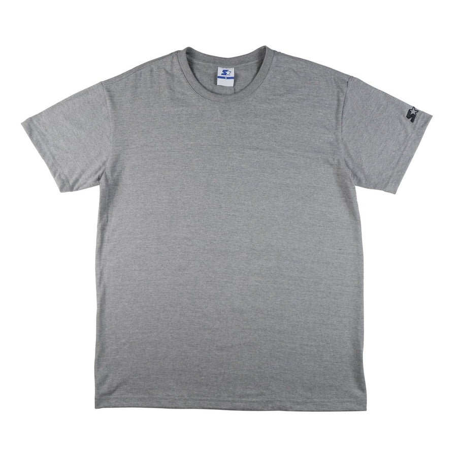 BASIC ROUND NECK TEE WITH EMBRO ON SLEEVES - TOP DYE GRAY