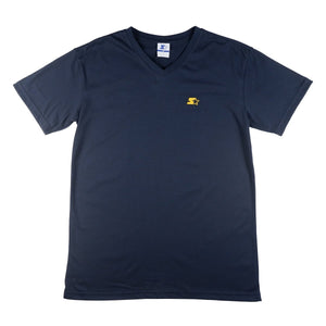 BASIC ROUND NECK TEE WITH EMBRO ON SLEEVES - NAVY BLUE