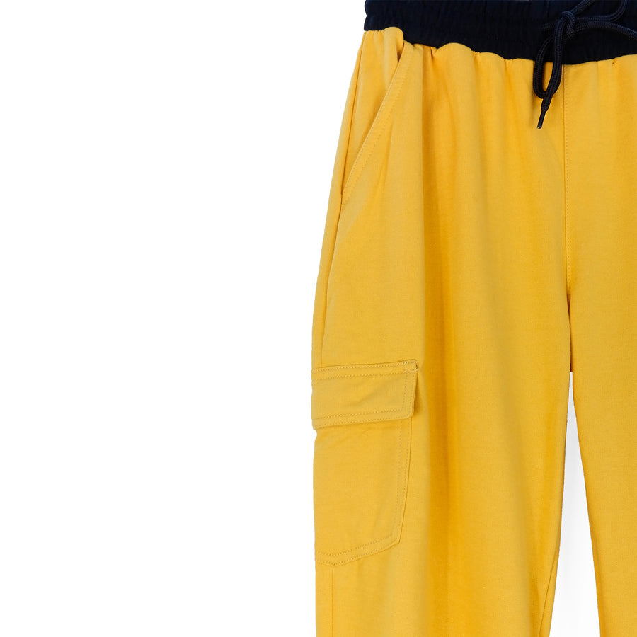 Jogger Pants with Side Pocket & Print - Coco Mustard