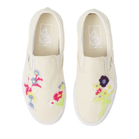 Classic Slip On - (Floral Chenille) White Asparagus/True White