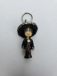 Charrita Key chain-black and white rose