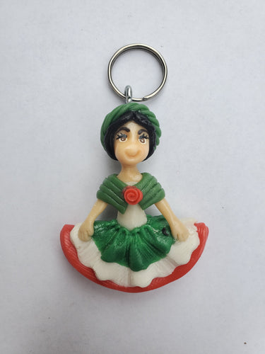 Adelita keychain- white top green headband