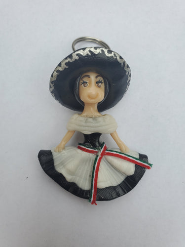 Adelita Key chain-black and white dress with sombrero