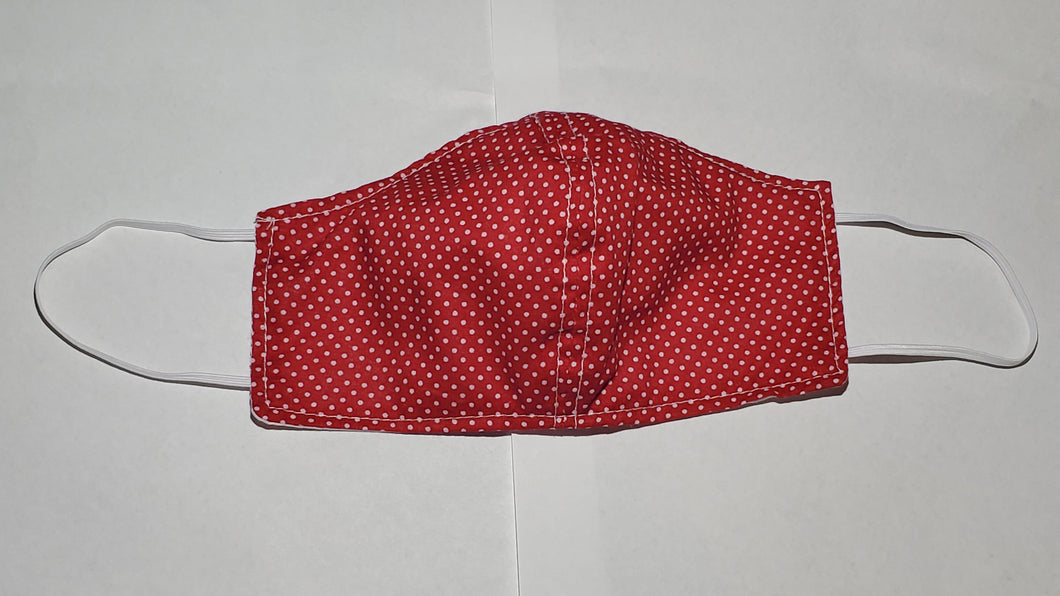 Red small polka dot face mask