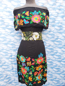 Black Floral Embroided Dress