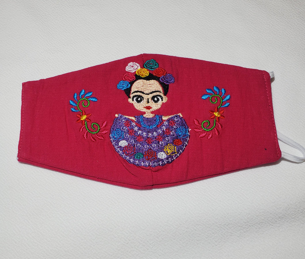Magenta Frida Embroided face mask