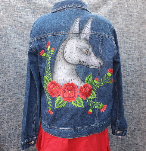 Hand painted Xoloitzcuintle Jean Jacket
