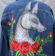 Load image into Gallery viewer, Hand painted Xoloitzcuintle Jean Jacket