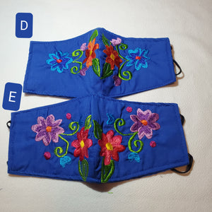 Youth blue floral Embroided face mask