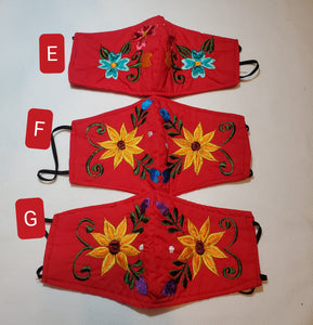 Youth floral red Embroided  face mask