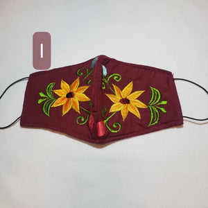 Youth floral burgandy Embroided  face mask