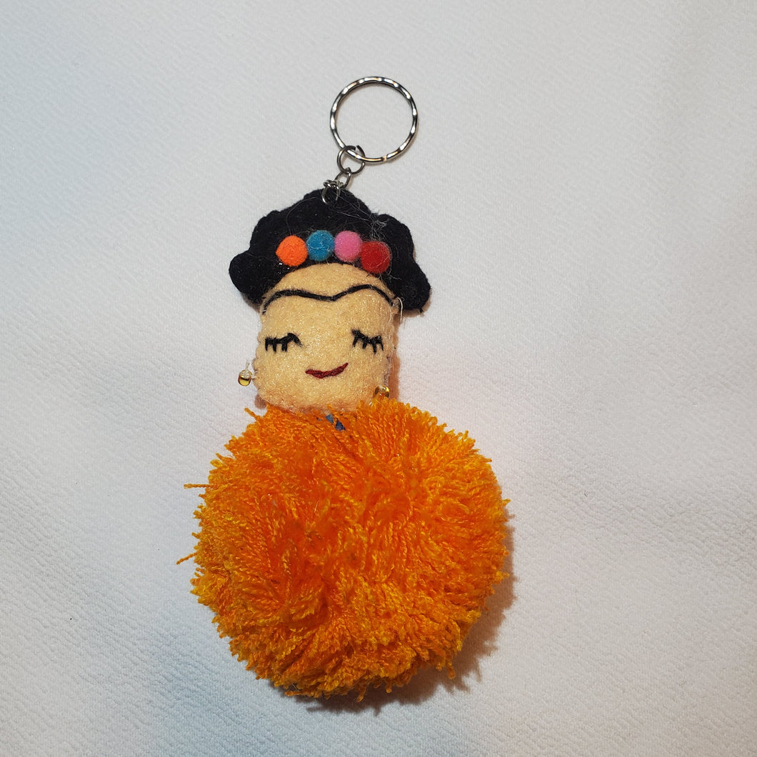 Orange Frida Kahlo Tassel Keychain or Tassel for Purse