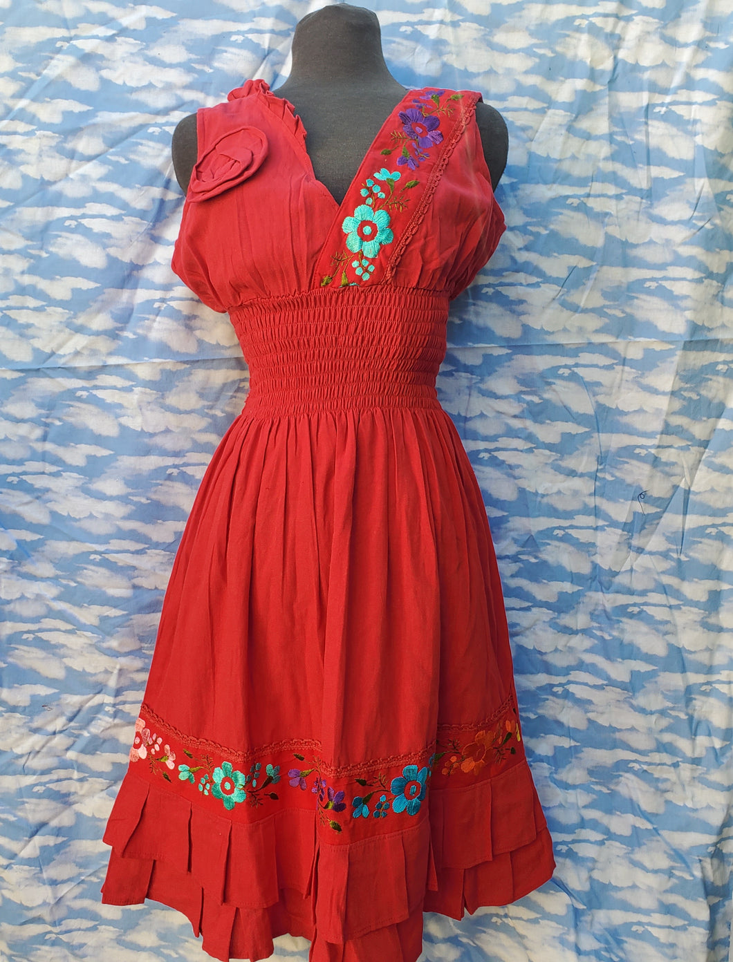 Red Embroided Dress