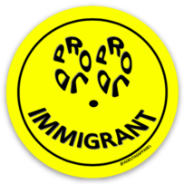 Proud Immigrant Happy Face vinyl die cut sticker