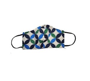 White blue tone geometric flower face mask