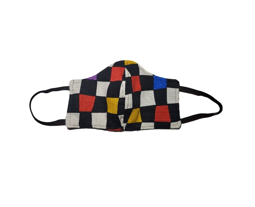 Colorful squares black face mask