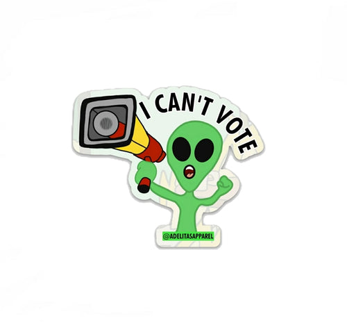 I Can't Vote Sticker