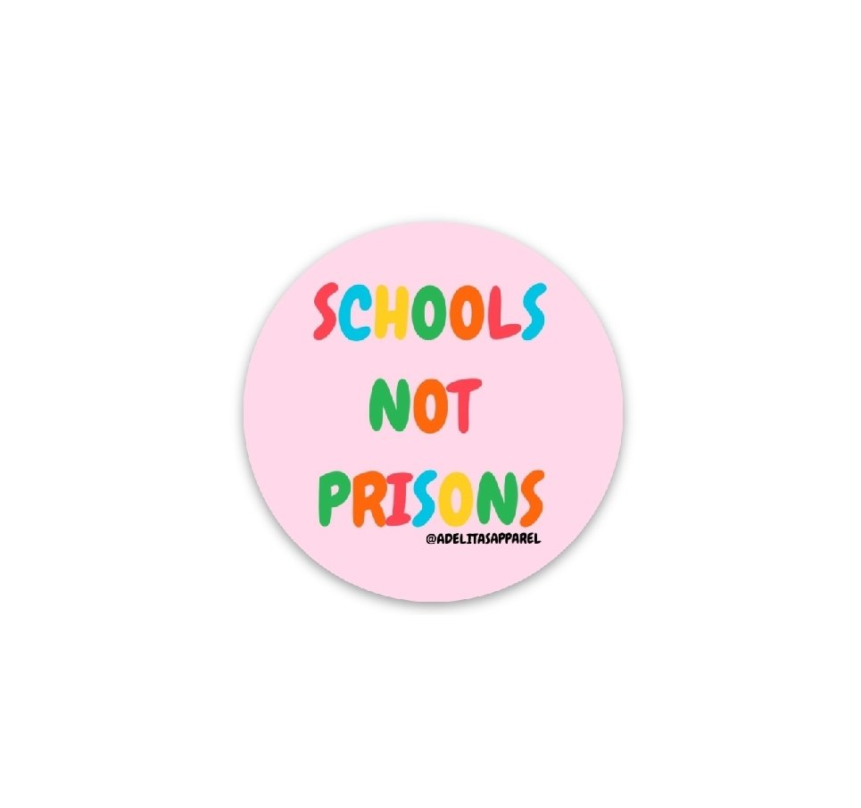 Pink Schools Not Prisons vinyl die-cut sticker