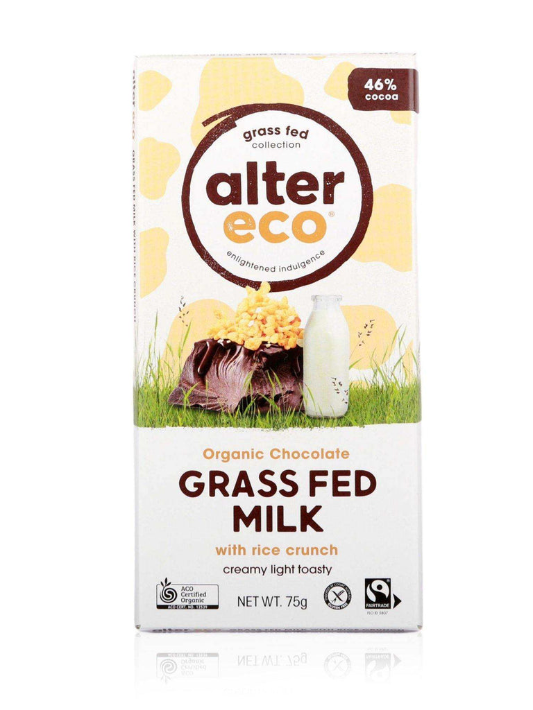 Alter Eco Organic Chocolate Grass Fed Milk with Rice Crunch 75g - Healthy Essentials Australia - health food store - health food stores - health food store near me - organic food store - health food store near me