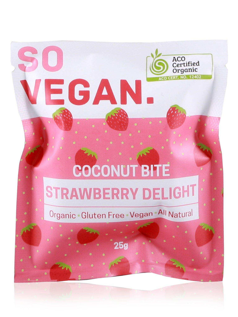 So Vegan Organic Strawberry Coconut Bite 25g - Healthy Essentials Australia - health food store - health food stores - health food store near me - organic food store - health food store near me