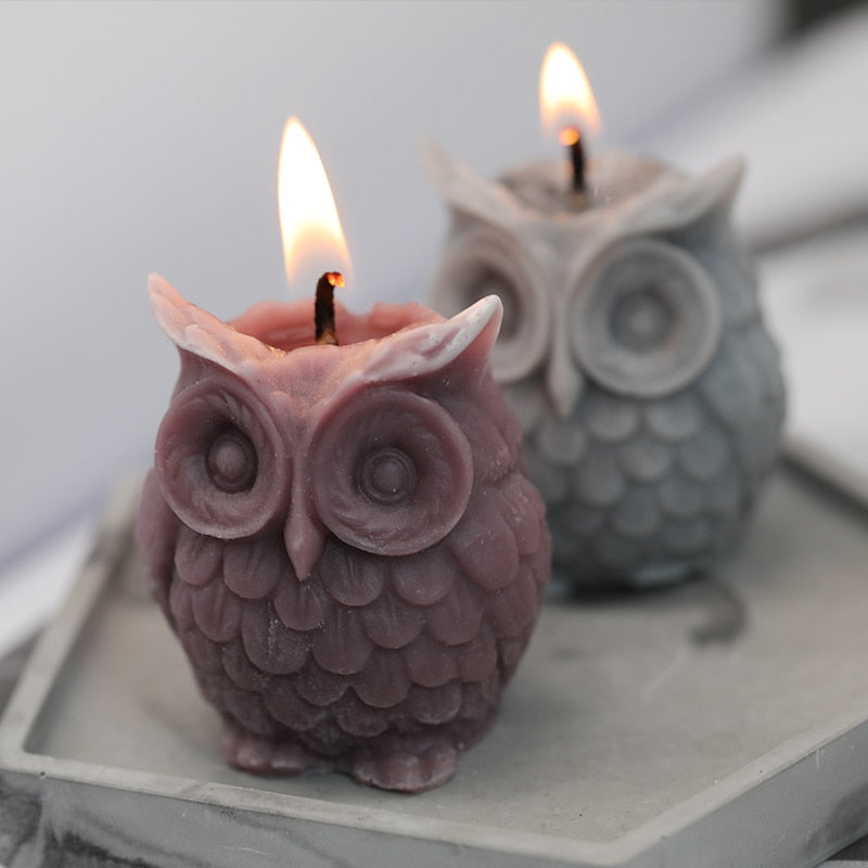 SJ 3D Owl Candle Mold Silicone Mold for Candle Making DIY Handmade Resin Molds for Plaster Wax Mould