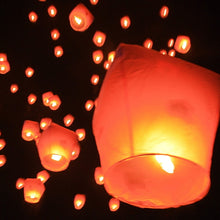 Load image into Gallery viewer, 6pc Night Party Candles Flying Lights Wishing Valentine's Day Holiday Hot Air Balloons DIY Fire Lights Friends Family Christmas