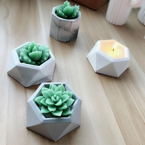 Diamond Shaped Surface Succulent Plant Flower Pot Silicone Mold Concrete DIY Ashtray Candle Holder Mold Gypsum Cement Fleshy Pot