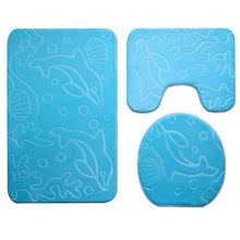 Load image into Gallery viewer, 3Pcs/set Bathroom Mat Set Ocean Underwater World Anti Slip Kitchen Bath Mat Coral Fleece Floor Mats Washable Bathroom Toilet Rug