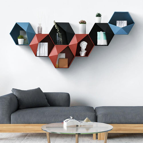 Floating Shelf Living Room Wall-Mounted Geometric Punch-Free Wall Decoration Bathroom Wall Shelf Etagere Mural